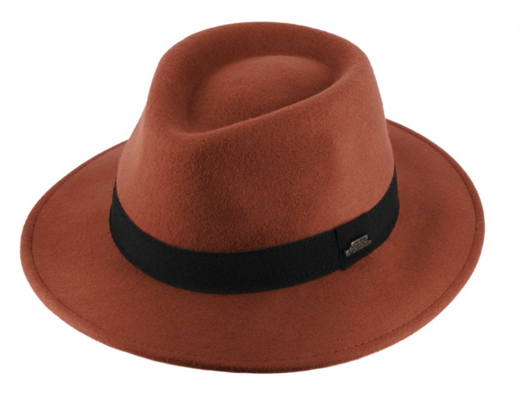 Cestovní nemačkavý klobouk vlněný od Fiebig - zrzavý s černou  stuhou