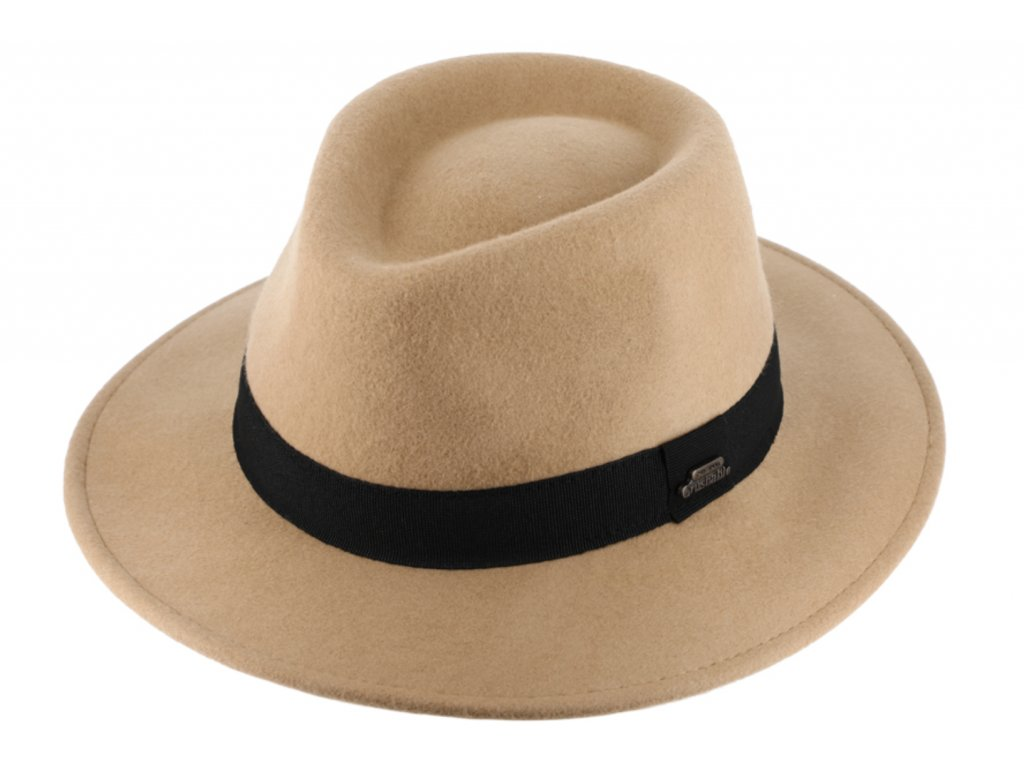 Cestovní nemačkavý klobouk vlněný od Fiebig - béžový s černou  stuhou