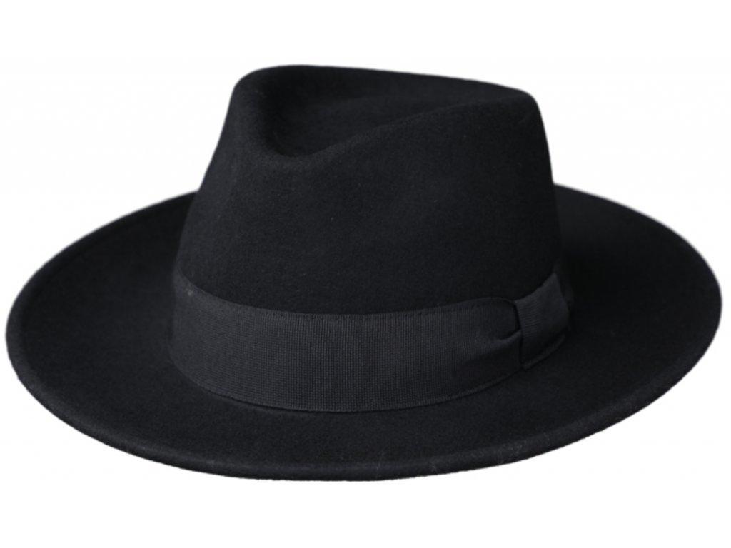 Cestovní klobouk vlněný od Fiebig s širší krempou - černý s černou stuhou