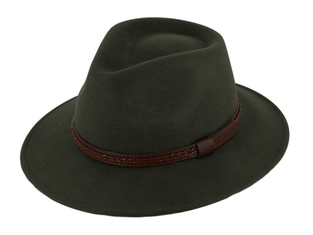 Cestovní klobouk vlněný od Fiebig - zelený s koženou stuhou - širák
