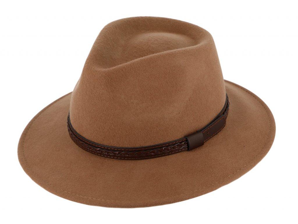 Cestovní klobouk vlněný od Fiebig - béžový s koženou stuhou - širák