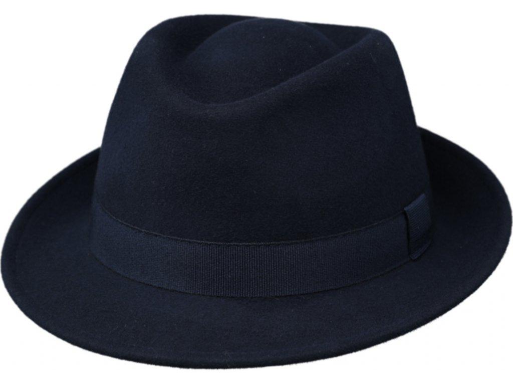 Klasický trilby klobouk vlněný Fiebig  - modrý s modrou stuhou