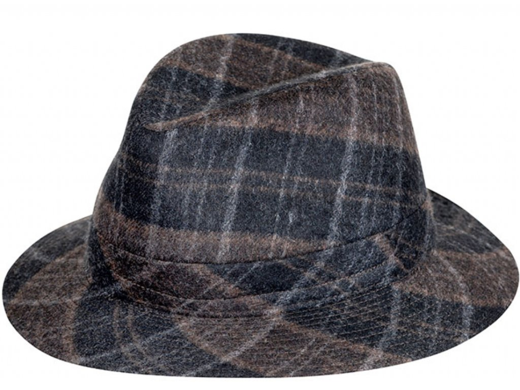 Kostkovaný vlněný látkový klobouk fedora - Fiebig 1903