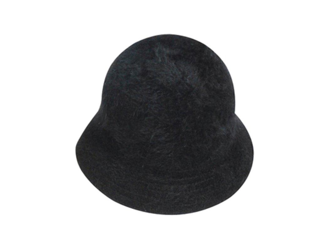 Chlupatý černý angorový klobouček - Bucket Hat