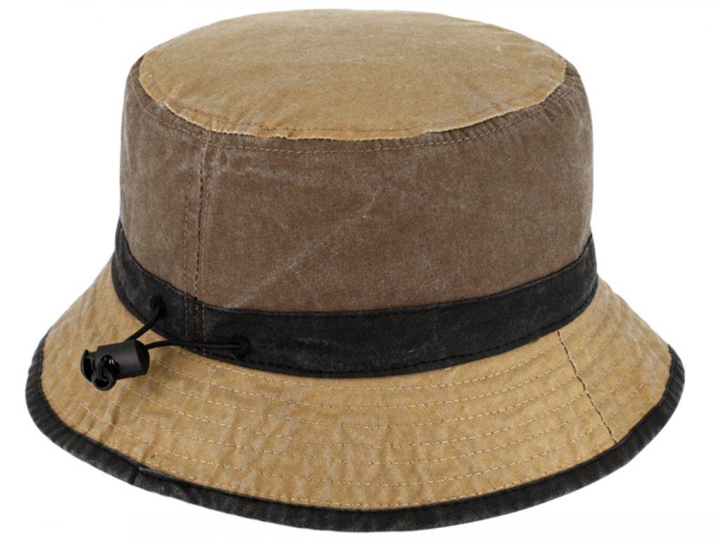 Volnočasový legendární bucket hat od Fiebig 1903 - hnědobéžový - sepraná bavlna