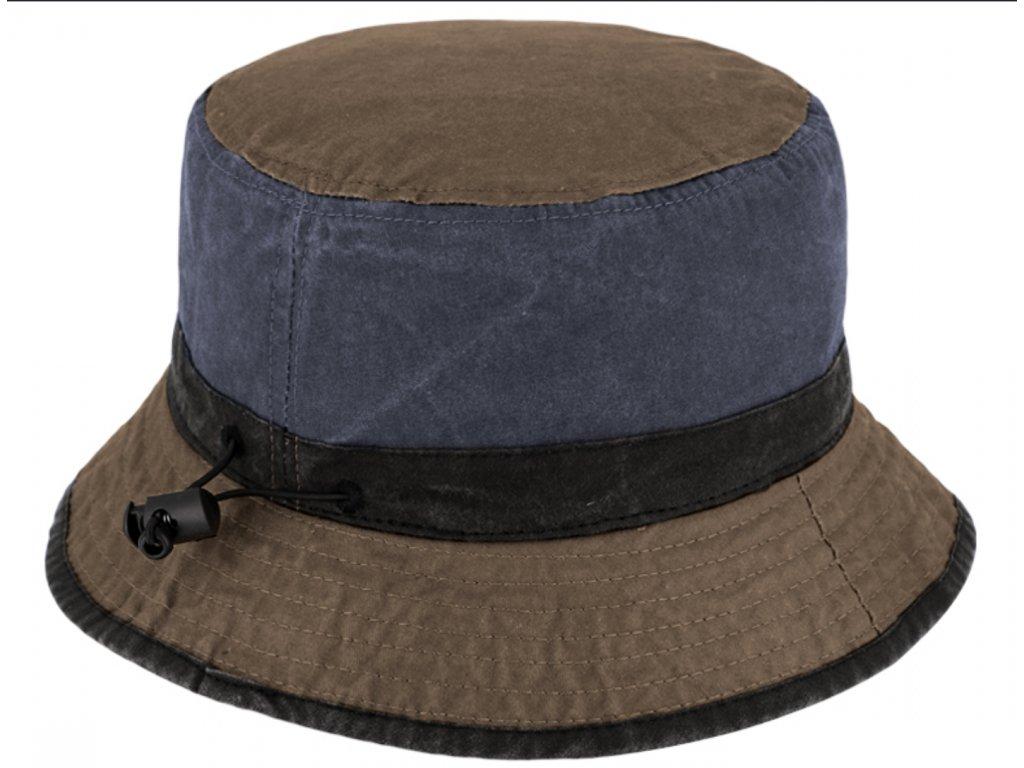 Volnočasový legendární bucket hat od Fiebig 1903 - hnědomodrý - sepraná bavlna