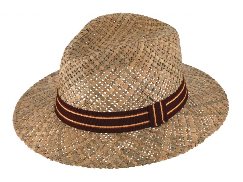 Slaměný klobouk z mořské trávy - Fedora - hnědá stuha
