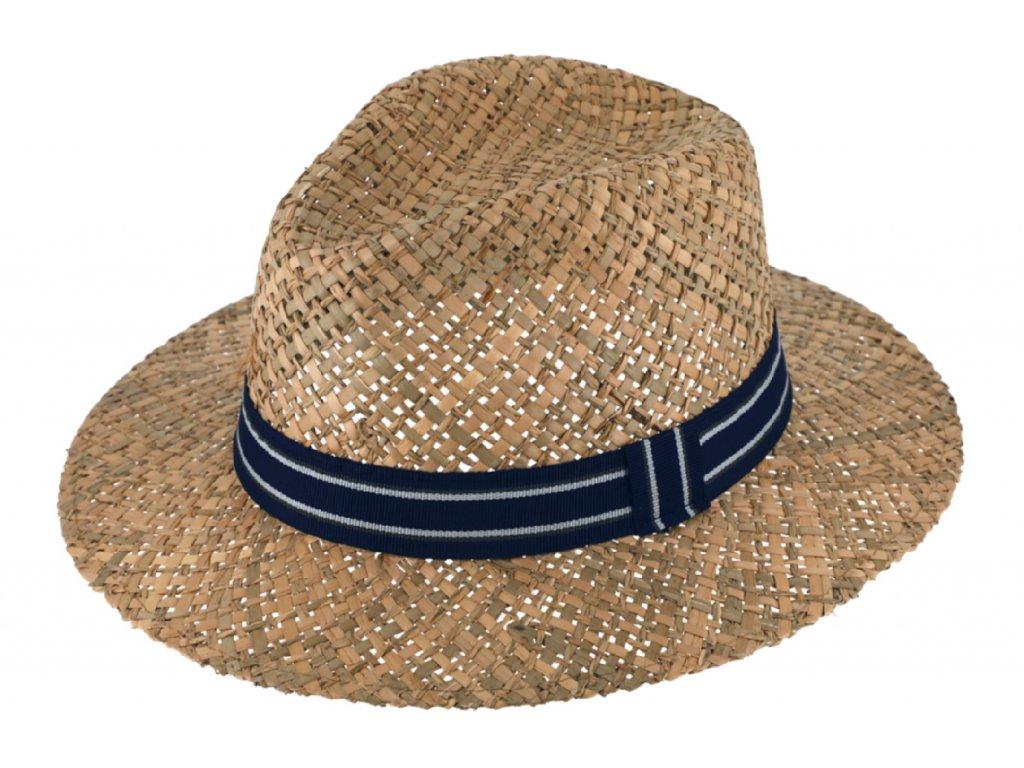 Slaměný klobouk z mořské trávy - Fedora - modrá stuha