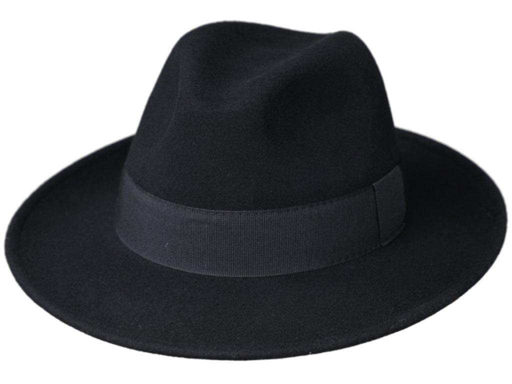 Černý klobouk plstěný - černý s černou stuhou - Bogart