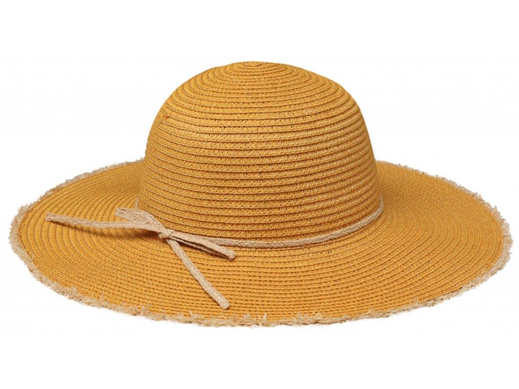 Klasický žlutý dámský slaměný klobouk Fiebig - Brim Hat Base Point