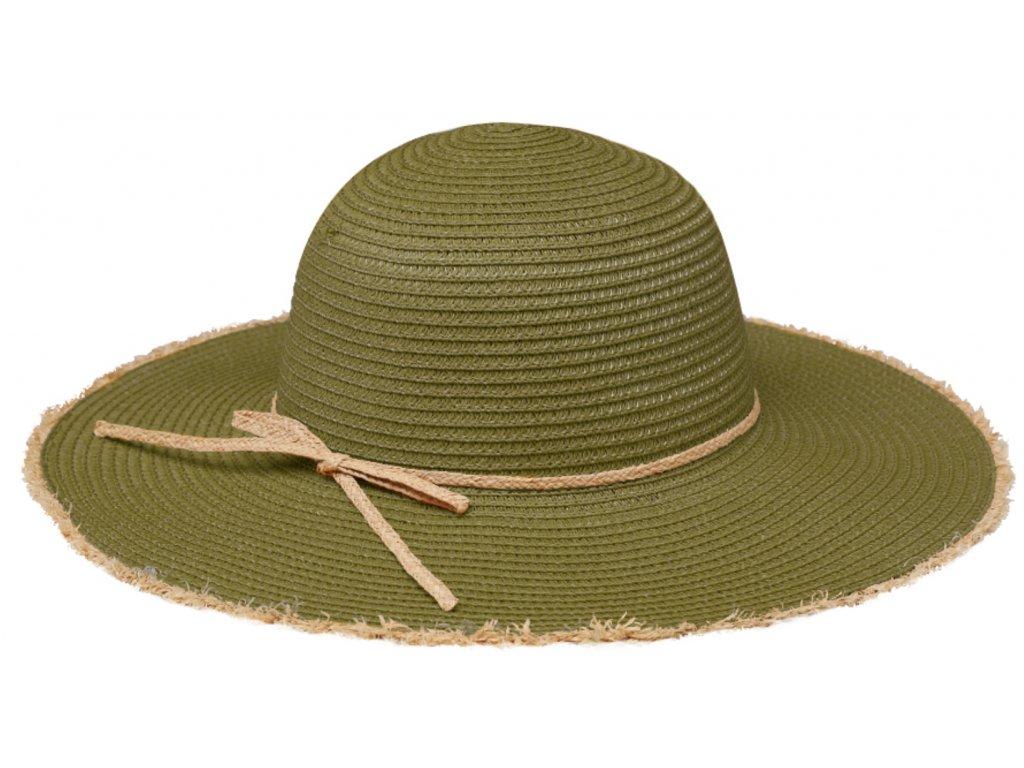 Klasický zelený (olivový) dámský slaměný klobouk Fiebig - Brim Hat Base Point