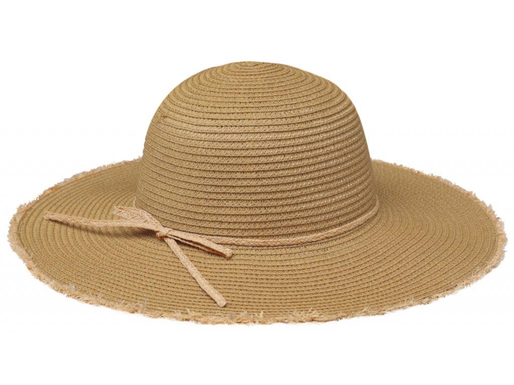 Klasický béžový dámský slaměný klobouk Fiebig - Brim Hat Base Point