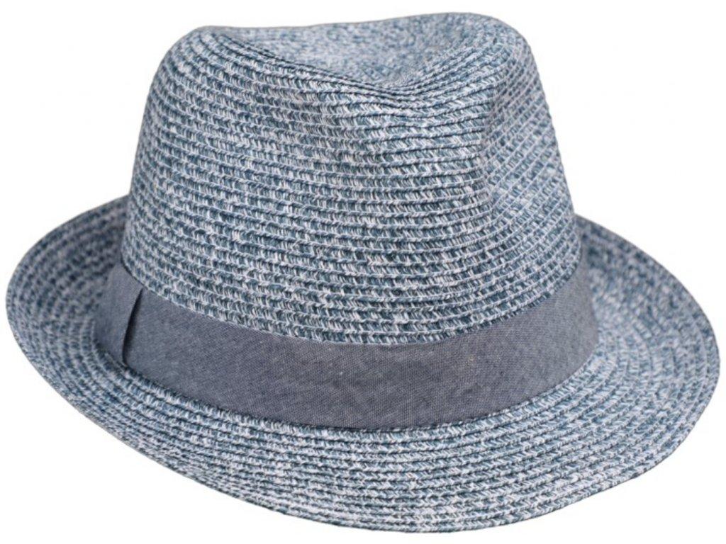 Slaměný měkký modrý letní klobouk Trilby Toyo