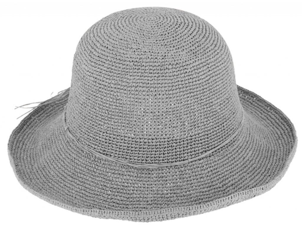 Dámský šedý letní slaměný klobouk Cloche