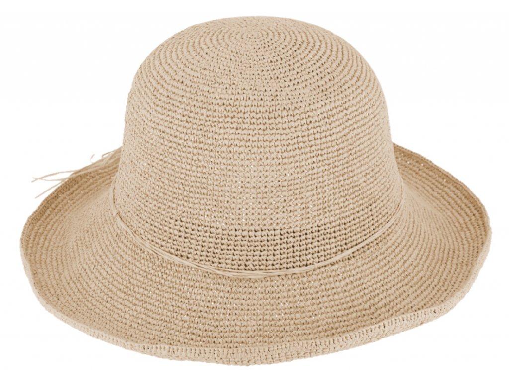 Dámský béžový letní slaměný klobouk Cloche