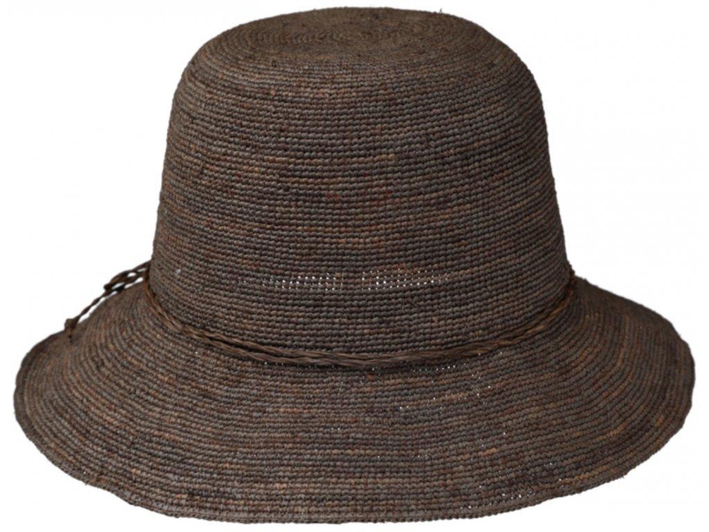 Dámský hnědý letní slaměný klobouk Cloche
