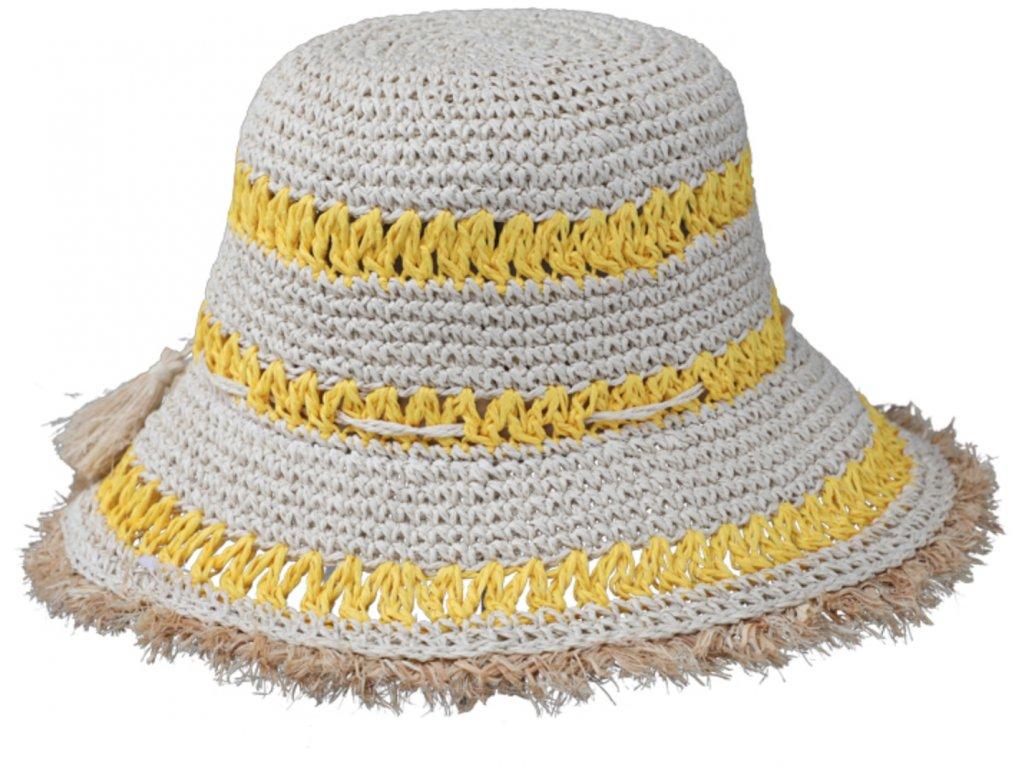 Dámský letní dvoubarevný žlutý  klobouk Cloche