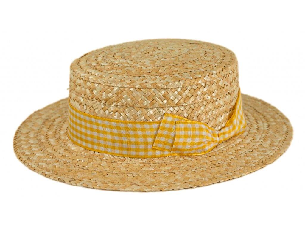 5148 1 letni slameny boater klobouk zirardak carlsbad hat co nova kolekce s zlutou kostkovanou stuhou 2.png
