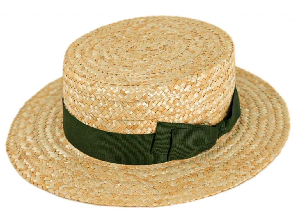 5178 letni slameny boater klobouk zirardak carlsbad hat co nova kolekce s zelenou stuhou 2.png