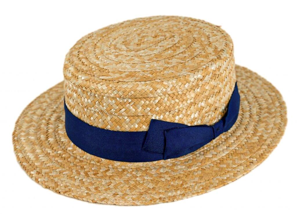 5181 letni slameny boater klobouk zirardak carlsbad hat co nova kolekce s modrou stuhou 2.png