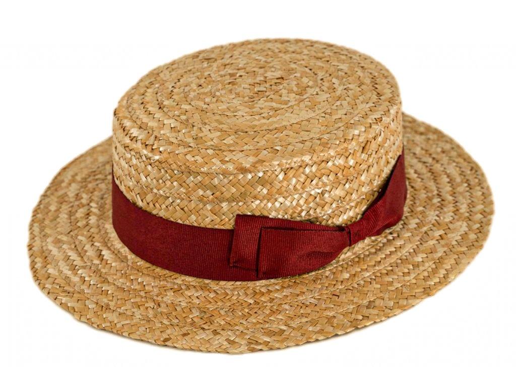 5187 letni slameny boater klobouk zirardak carlsbad hat co nova kolekce s bordo stuhou.png
