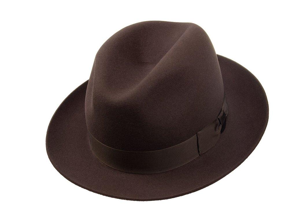 Společenský hnědý klobouk zdobený kloboukovou stuhou - Tonak 100196
