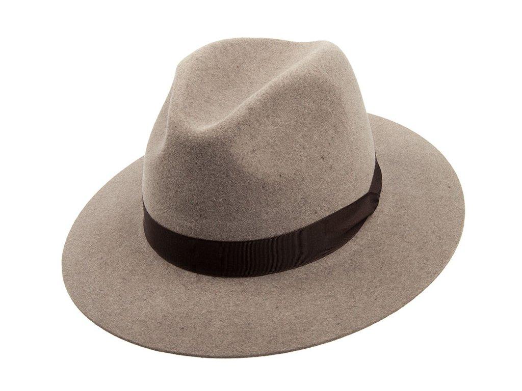 Plstěný Fedora klobouk od Tonak 12085/15 - oříšková barva s hnědou stuhou