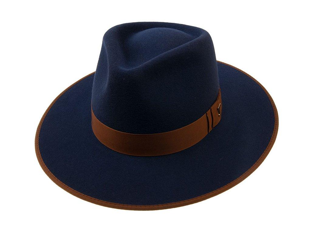 Plstěný klobouk zdobený kontrastní kloboukovou stuhou a lemem - Tonak 12509/17 - šíroká krempa