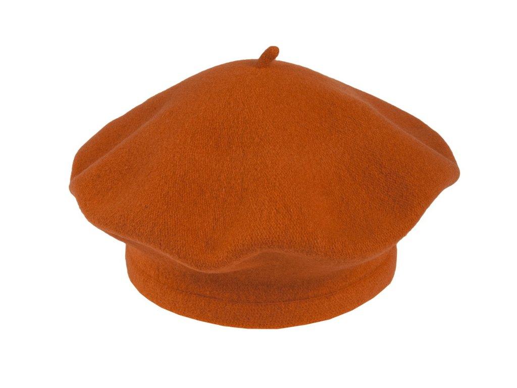 Flora 001 020590 baret pleteny vlneny oranzovy