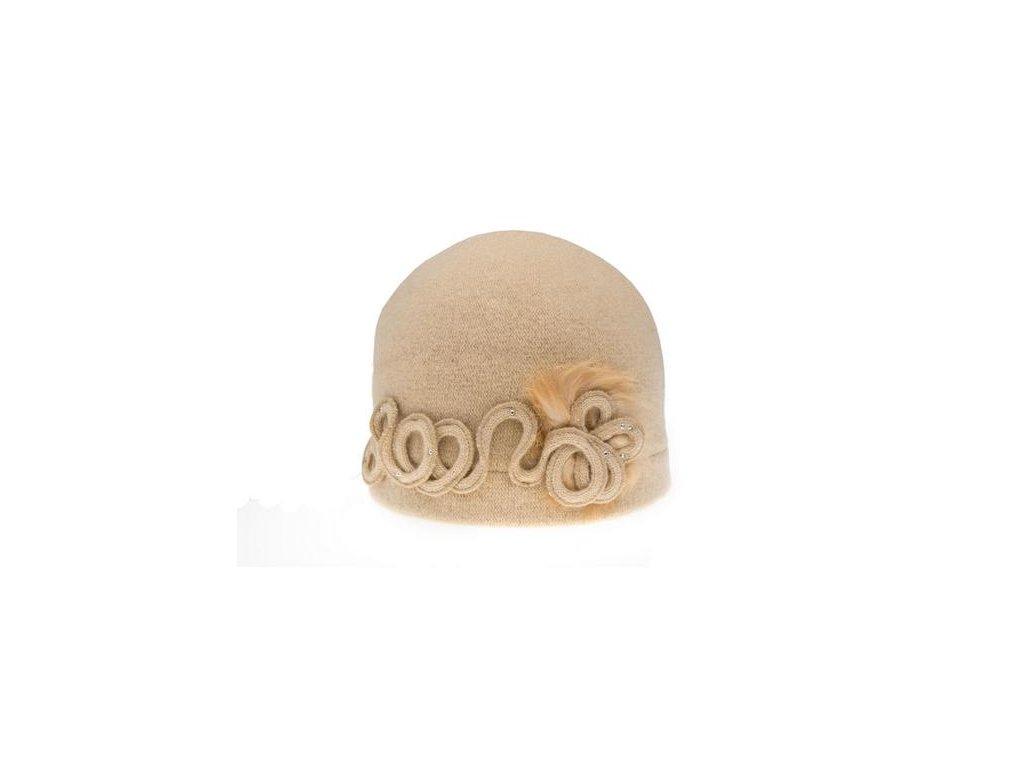 Vlněná dámská čepice zdobená obšitou vázačkou a kožešinou Odoleri Tonak - výprodej
