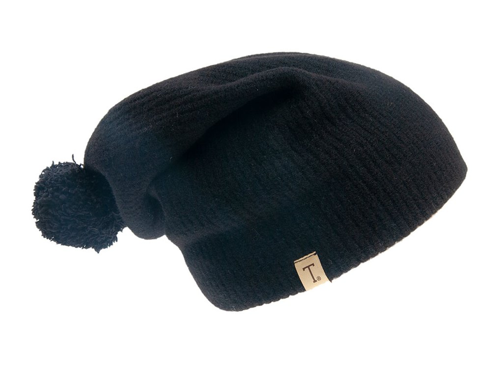Vlněná  černá čepice s bambulí - Ogivar Tonak - výprodej