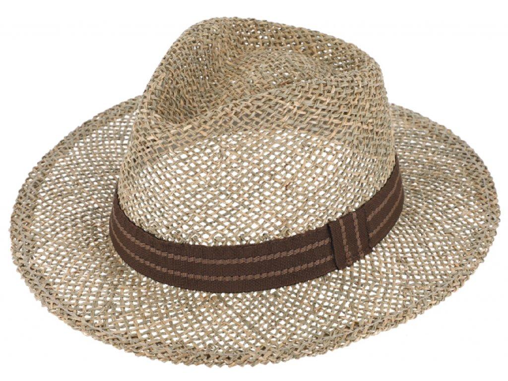 Letni slameny klobouk s hnedou stuhou