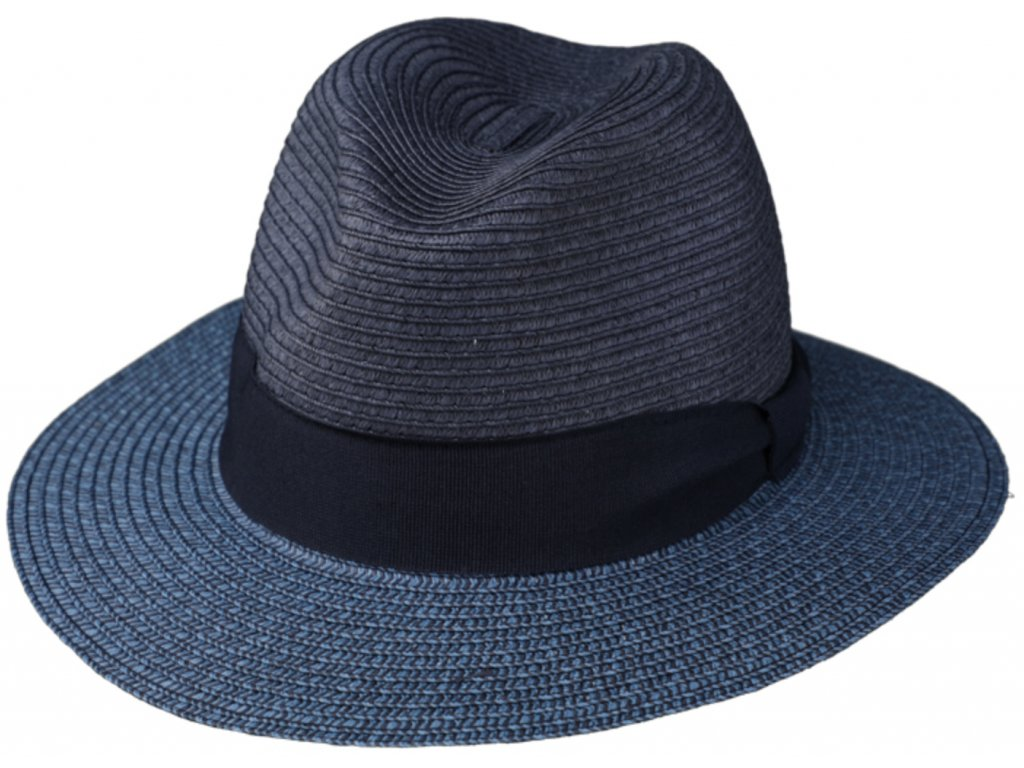 Letní modrý fedora klobouk od Fiebig Traveller Toyo modrý :2478520