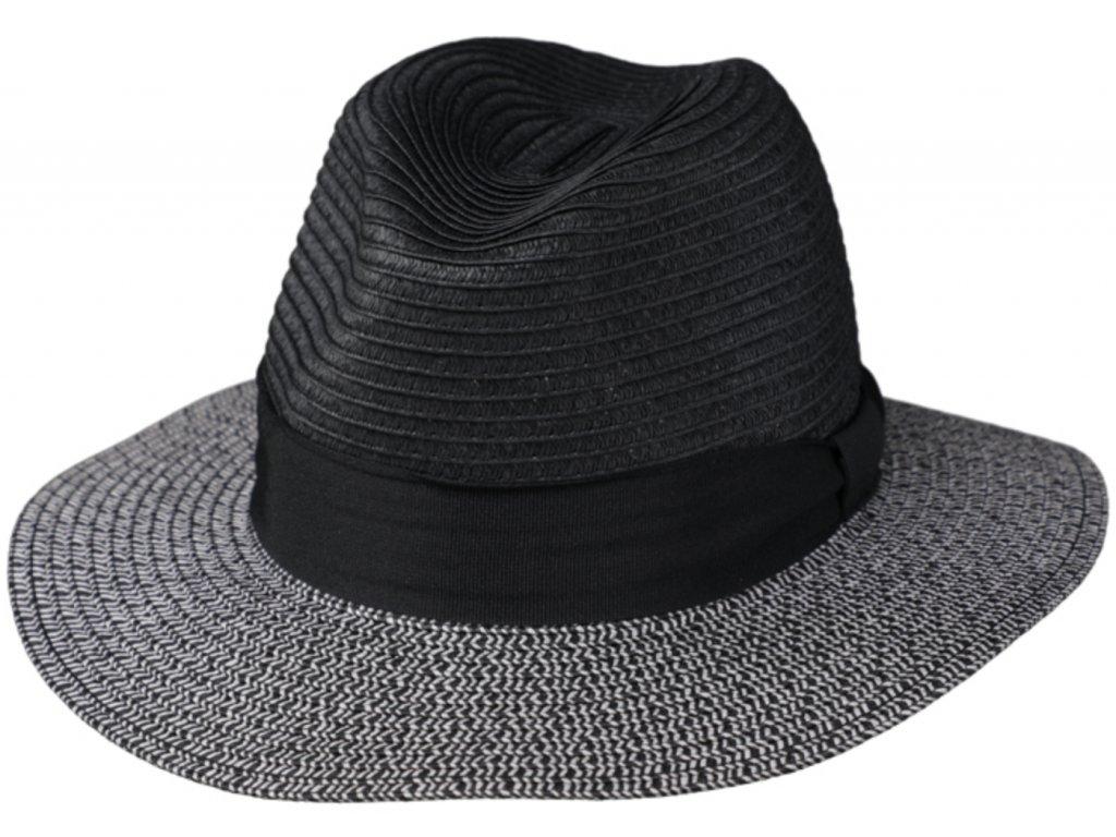 Letní šedočerný fedora klobouk od Fiebig Traveller Toyo šedočerný :2478520