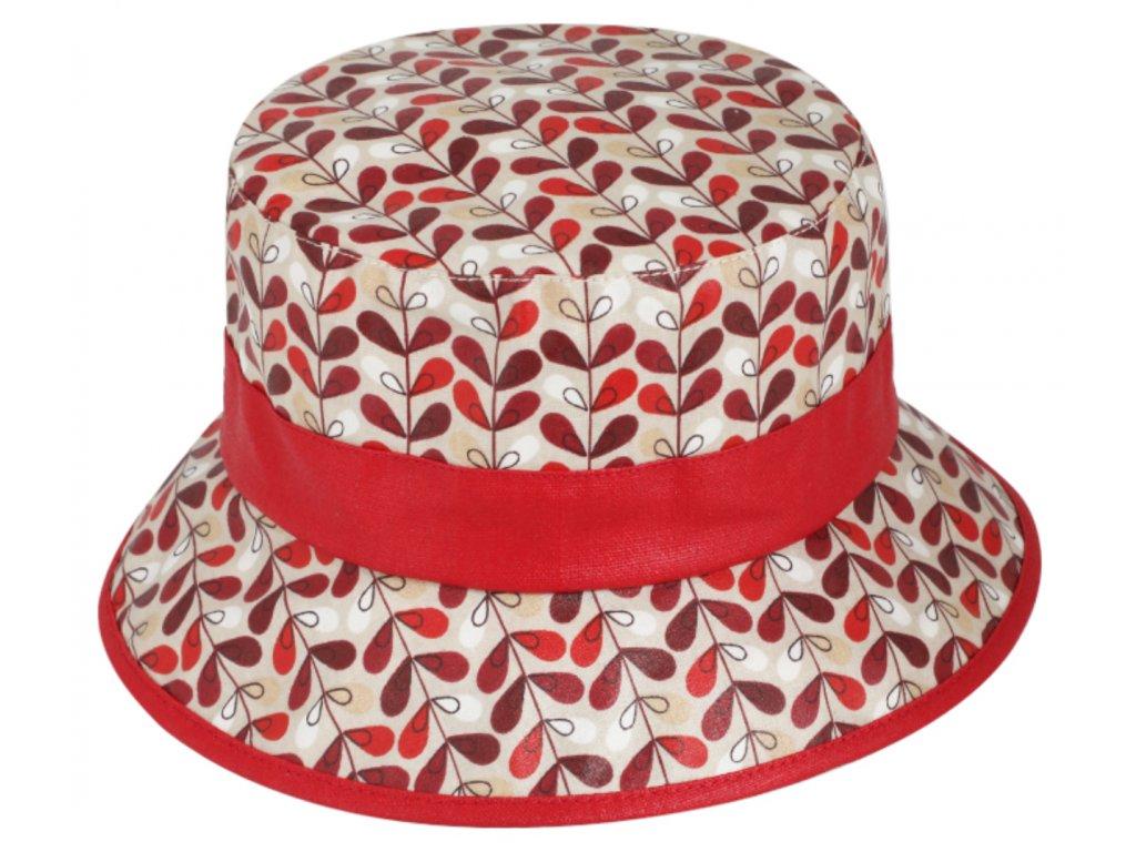 Nepromokavý bucket hat letní červený bavlněný klobouk Fiebig 1903