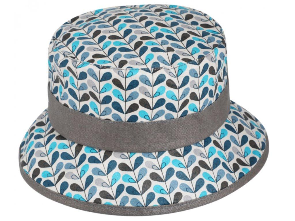 Nepromokavý bucket hat letní tyrkysový bavlněný klobouk Fiebig 1903