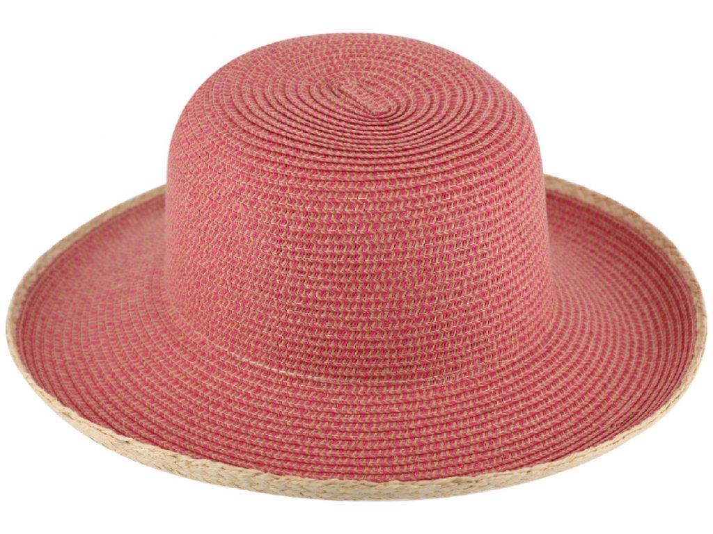 Dámský růžový letní slaměný klobouk Cloche bez stuhy