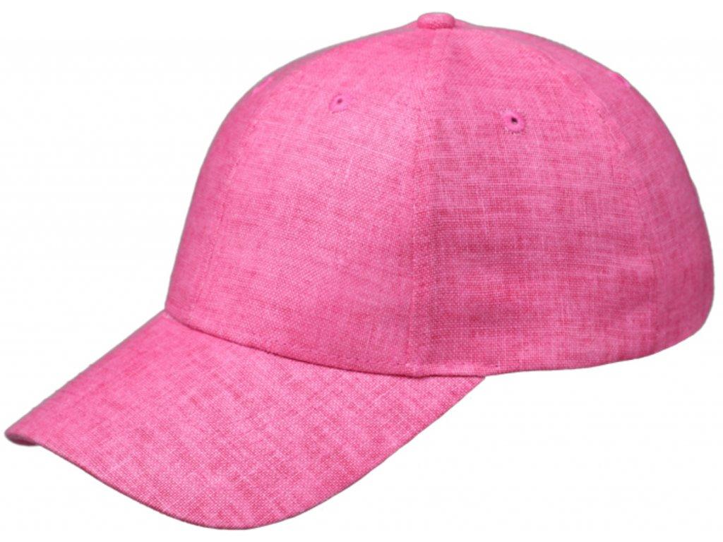 růžová lněná kšiltovka