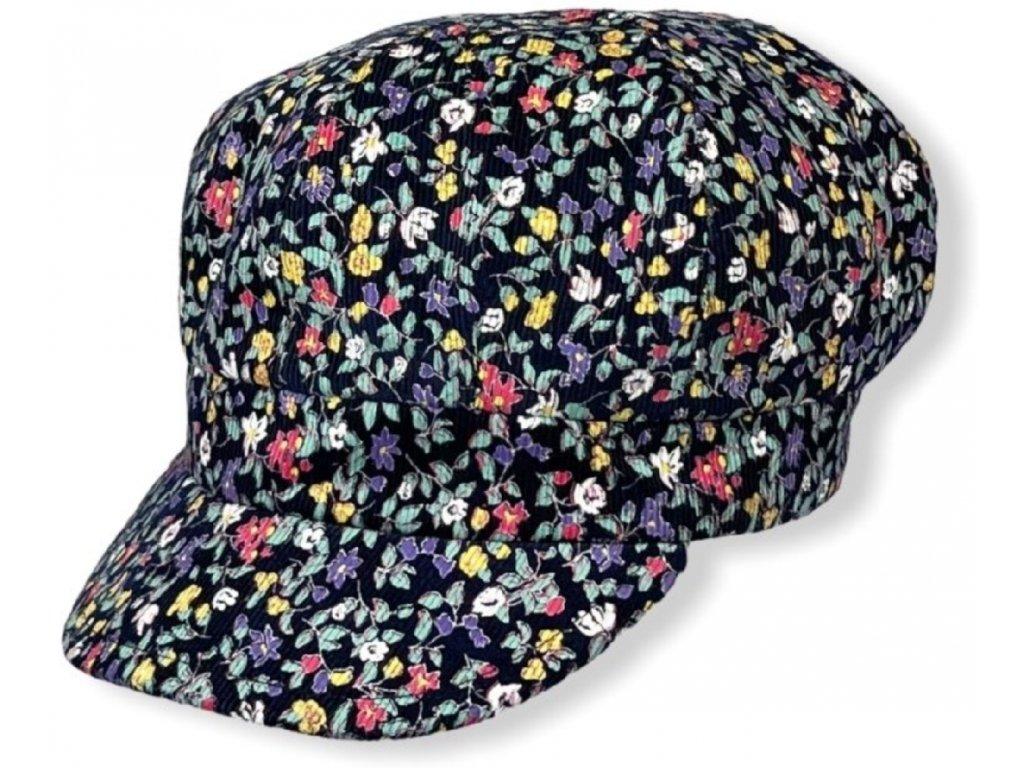 Dámská květovaná čepice