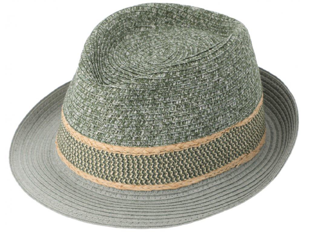 Unisex letní khaki klobouk Trilby od Fiebig Multi Color melange
