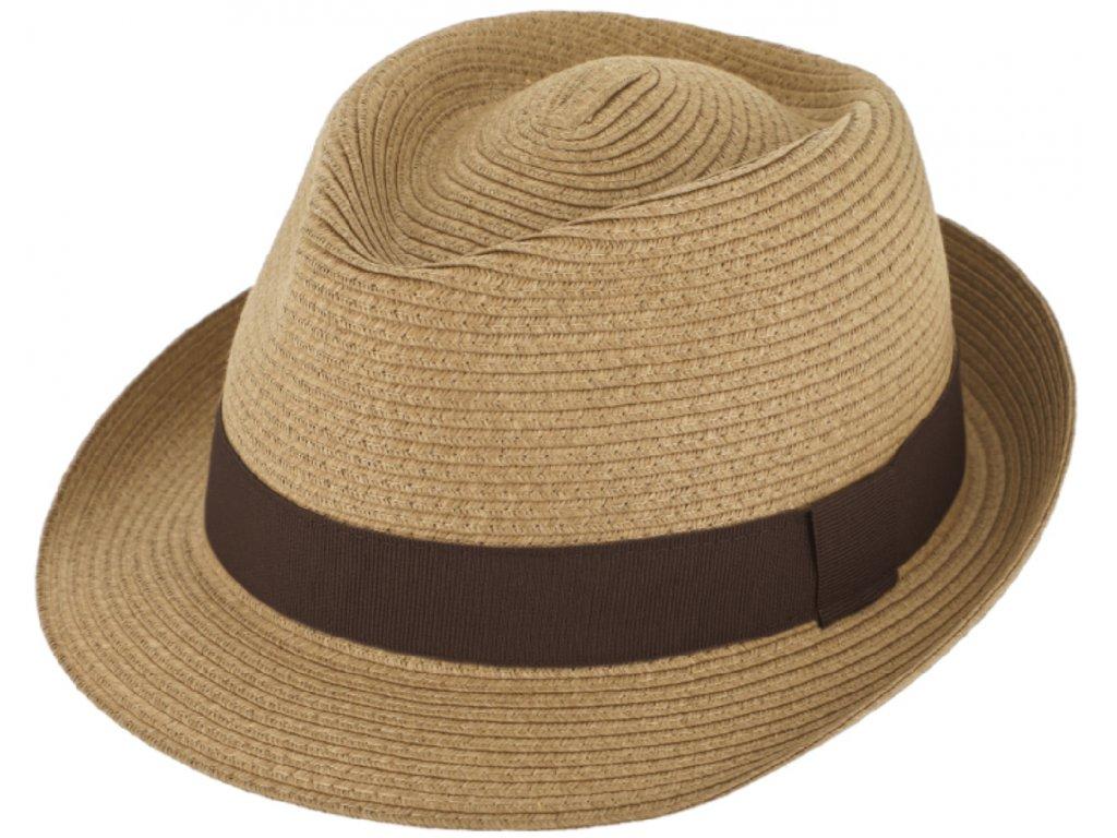 Nemačkavý letní béžový klobouk Trilby od Fiebig