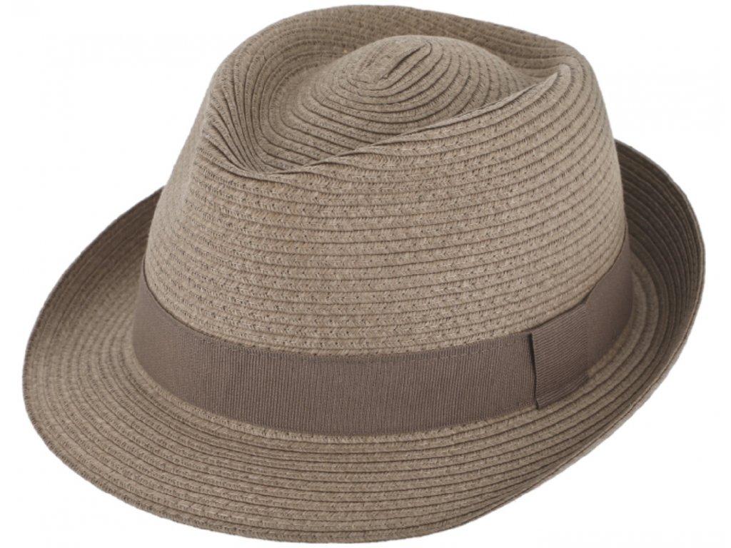 Nemačkavý letní šedohnědý klobouk Trilby od Fiebig