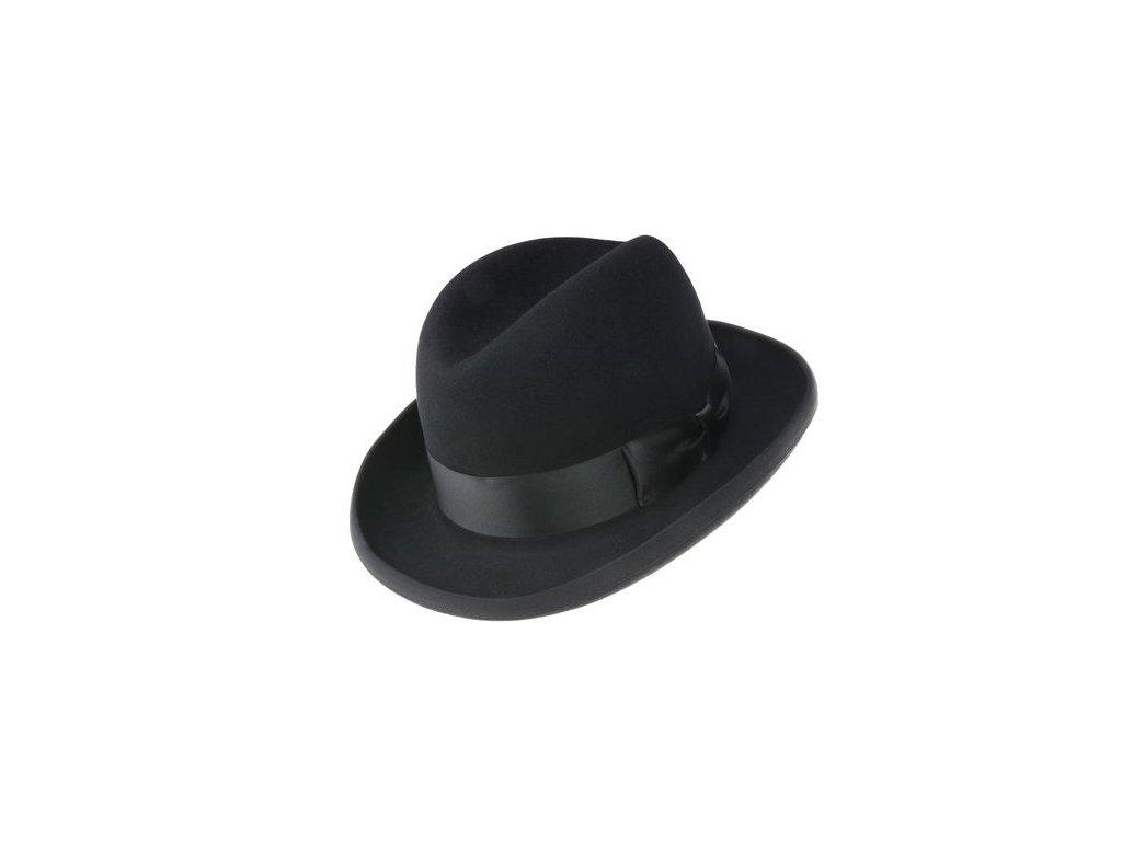 """Luxusní zámišový klobouk typu """"homburg"""" zdobený saténovou stuhou Tonak 11745/14*"""