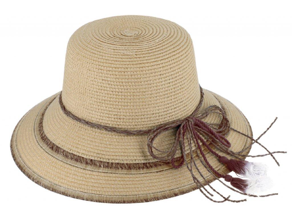 Dámský letní klobouk Clochet s dekorativní hnědou stuhou Fiebig