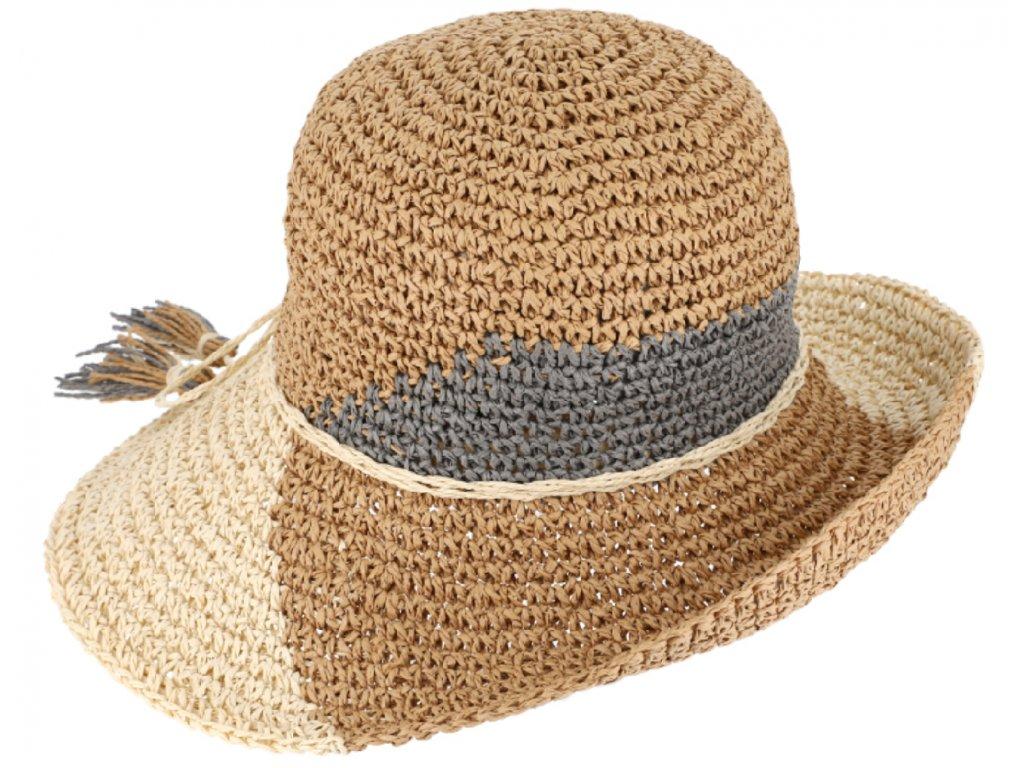 Dámský letní klobouk Clochet s dekorativní stuhou - Fiebig (háčkovaná sláma)