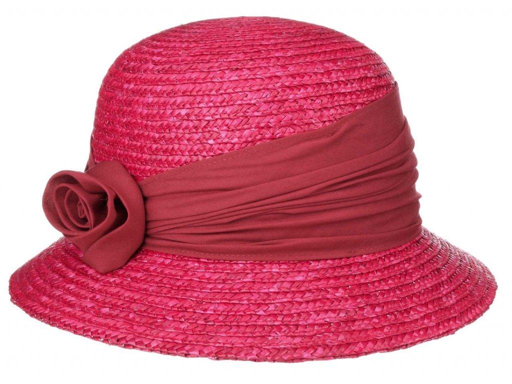 Dámský letní červenorůžový klobouček Cloche s malou krempou, ochrana UV FILTR +80