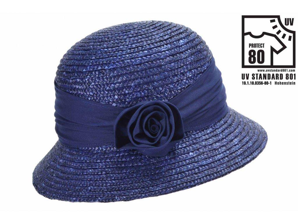 Dámský letní modrý klobouček Cloche s malou krempou, ochrana UV faktor 80