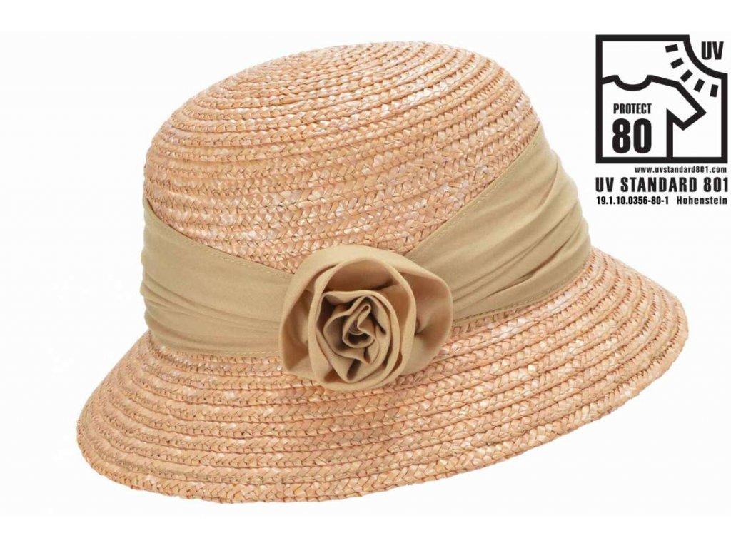 Dámský letní béžový klobouček Cloche s malou krempou, ochrana UV faktor 80