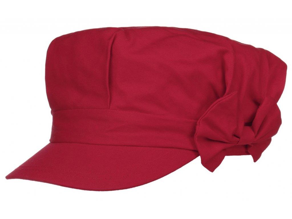 Dámská červená bavlněná bekovka s mašličkou