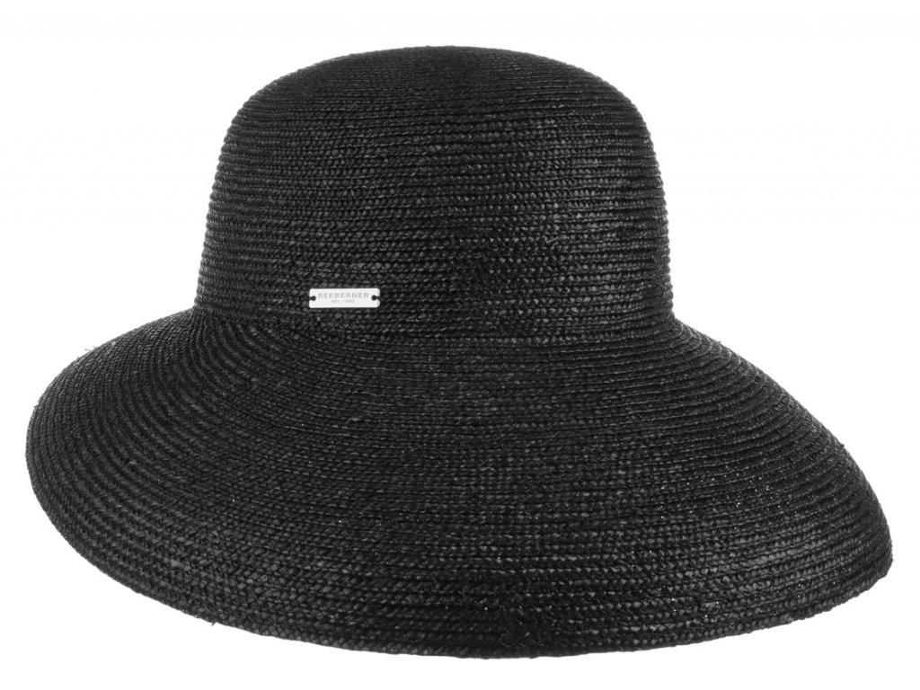 Luxusní slaměný dámský černý klobouk - cloche se zkrácenou krempou vzadu
